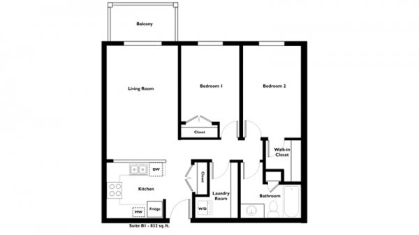 2-Bedroom-1-Bathroom-B